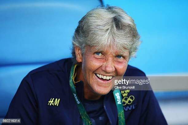 Swedish coach Pia Sundhage is seen during the Women's Olympic Gold Medal match between Sweden and Germany at Maracana Stadium on August 19, 2016 in...
