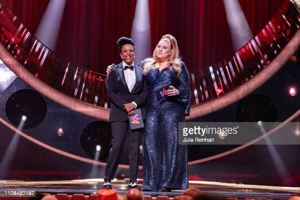 Swedish comedian Marika Carlsson and singer / actress Sarah Dawn Finer lead through the second heat of Melodifestivalen Sweden's competition to...