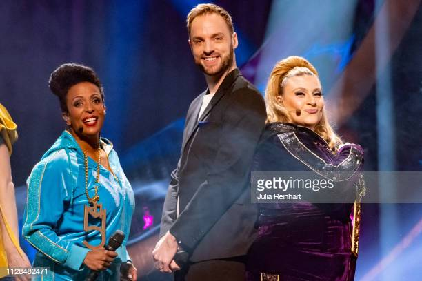 Swedish comedian Marika Carlsson radio personality Robin Paulsson and singer / actress Sarah Dawn Finer lead through the second heat of...