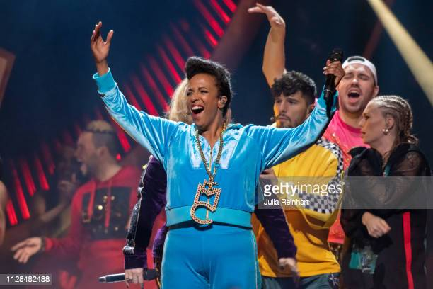 Swedish comedienne Marika Carlsson leads through the second heat of Melodifestivalen Sweden's competition to select the country's representative at...