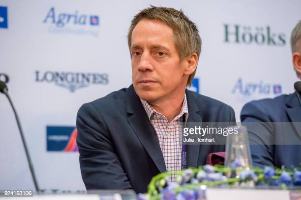 Swedish course builder Peter Lundstrom speaks at the press conference following the FEI Longines World Cup jumping during the Gothenburg Horse Show...