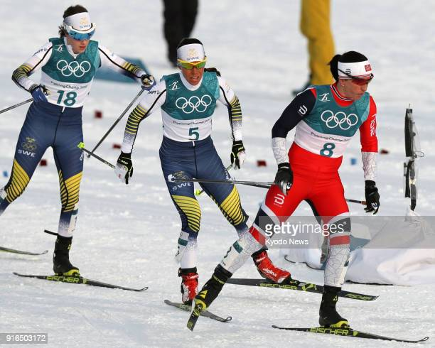 Swedish crosscountry skier Charlotte Kalla competes on her way to winning the women's skiathlon at the Pyeongchang Winter Olympics in South Korea on...