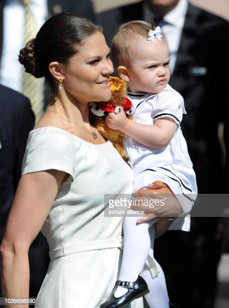 Swedish Crown Princess Victoria and her daughter Princess Estelle arrive to start the traditional Open Palace event at the Royal Palace in Stockholm...