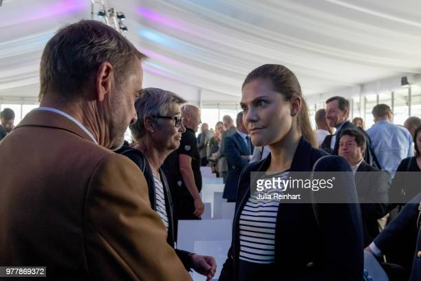 Swedish Crown Princess Victoria attends the Volvo Ocean Summit ahead of participating in the ProAm Race at the Volvo Ocean Race in the Freeport of...