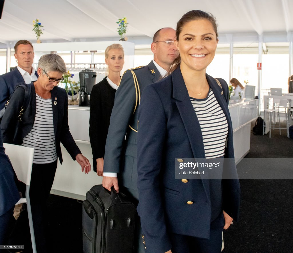 Swedish Crown Princess Victoria attends the Volvo Ocean Summit ahead of participating in the ProAm Race at the Volvo Ocean Race in the Freeport of Gothenburg on June 18, 2018 in Gothenburg, Sweden.