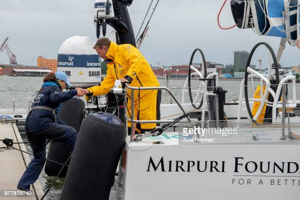 Swedish Crown Princess Victoria climbs on board the Turn the Tide against Plastic promoting efforts to reduce ocean pollution to participate in the...