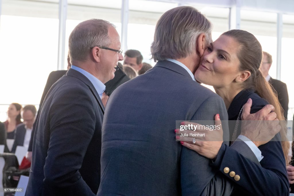 Swedish Crown Princess Victoria greets Hakan Samuelsson, CEO of Volvo Cars, as she attends the Volvo Ocean Summit ahead of participating in the ProAm Race at the Volvo Ocean Race in the Freeport of Gothenburg on June 18, 2018 in Gothenburg, Sweden.