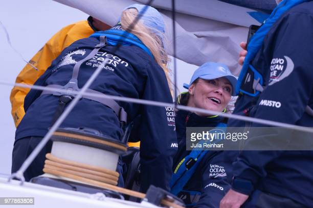 Swedish Crown Princess Victoria participates in the ProAm Race at the Volvo Ocean Race joining the team of Turn the Tide against Plastic promoting...