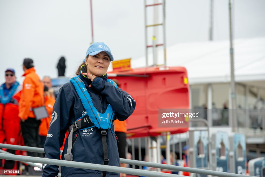 Swedish Crown Princess Victoria participates in the ProAm Race at the Volvo Ocean Race, joining the team of Turn the Tide against Plastic promoting efforts to reduce ocean pollution in the Freeport of Gothenburg on June 18, 2018 in Gothenburg, Sweden.