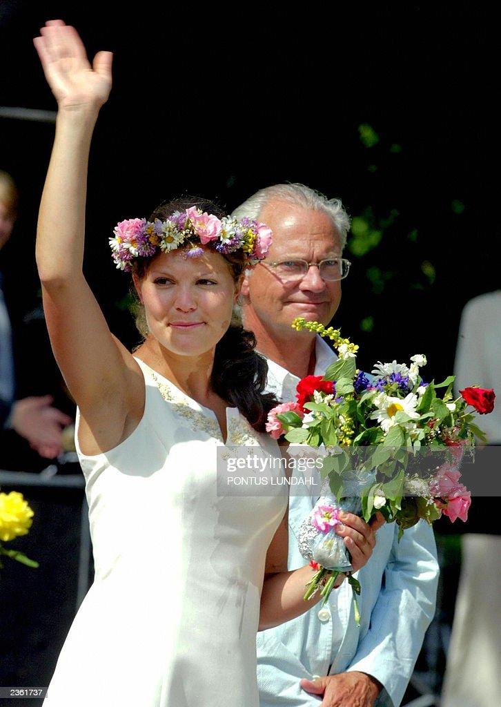 Swedish Crown Princess Victoria waves to : News Photo