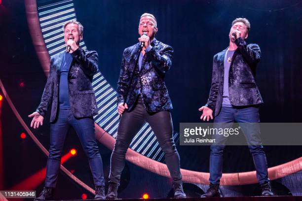 Swedish dance band Arvingarna participate in the fourth heat of Melodifestivalen Sweden's competition to select the country's representative at the...