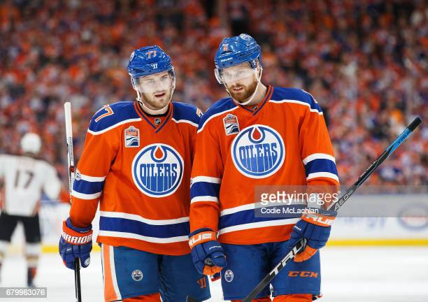 Swedish defencemen Oscar Klefbom and Adam Larsson of the Edmonton Oilers strategize against the Anaheim Ducks in Game Four of the Western Conference...