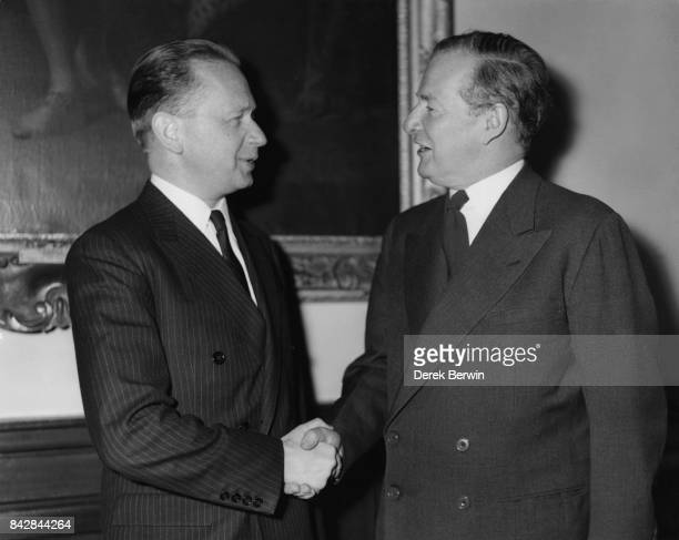 Swedish diplomat Dag Hammarskjold SecretaryGeneral of the United Nations with British Foreign Secretary Selwyn Lloyd at the Foreign Office in London...