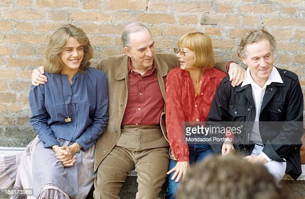 Swedish director and scenarist Ingmar Bergman sitting beside Swedish actors Ewa Froeling Harriet Andersson and Erland Josephson at the 40th Venice...