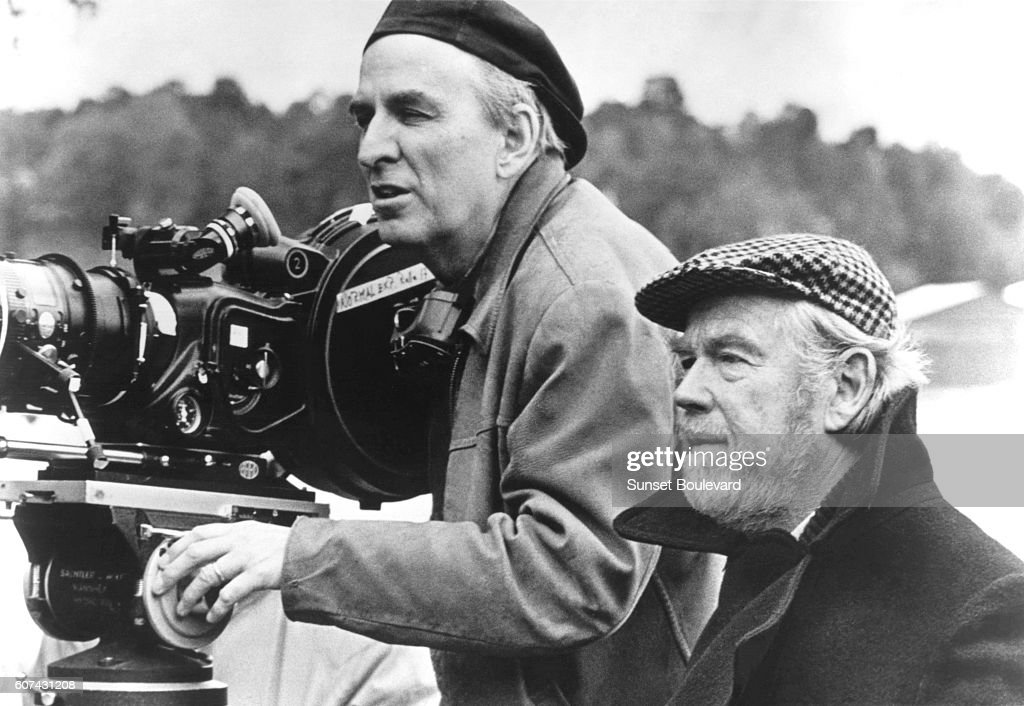Swedish director and screenwriter Ingmar Bergman with his Academy Award winning cinematographer Sven Nykvist, on the set of his movie Fanny och Alexander (Fanny and Alexander).