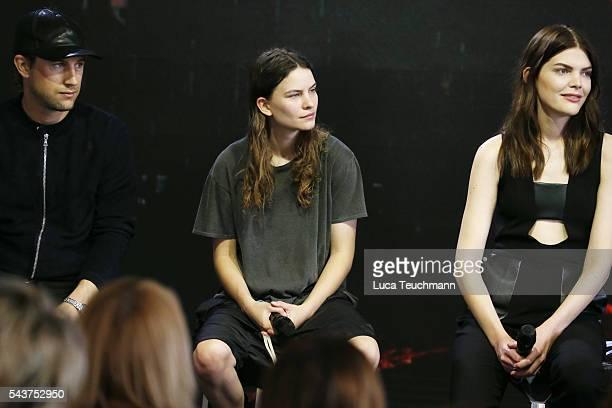 Swedish director Christian Larson Eliot Paulina Sumner daughter of singer Sting and Lucie Von Alten attend the MercedesBenz Fashion Talk during the...