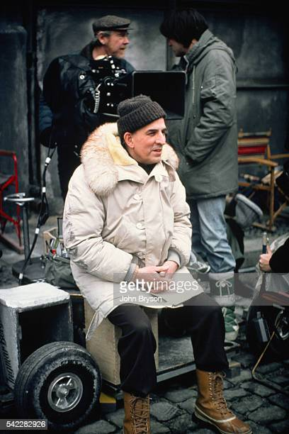 Swedish director and screenwriter Ingmar Bergman with his Academy Award winning cinematographer Sven Nykvist on the set of his movie Fanny och...