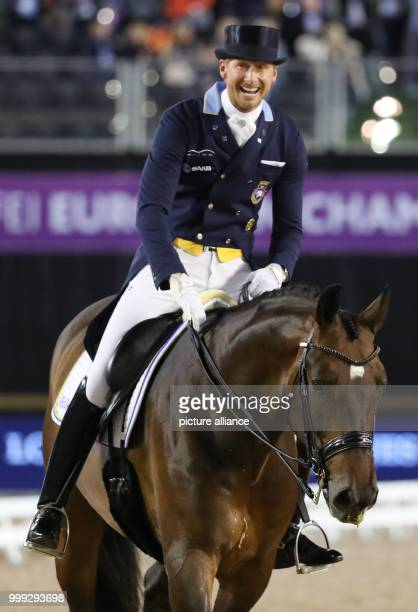 Swedish dressage rider Patrik Kittel on the horse Delaunay riding during the Dressage Grand Prix of the FEI European Championships 2017 in Goteborg,...