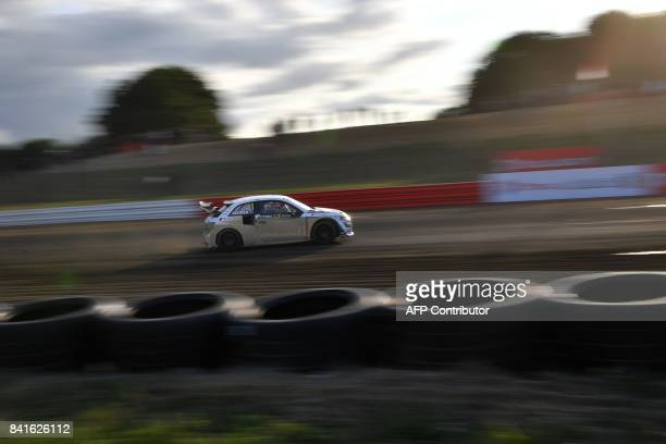 Swedish driver Mattias Ekstrom drives his Team EKS car during the free practice session of the rallycross of France, a stage of the 2017 FIA World...