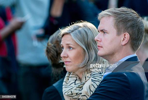 Swedish Education Minister and spokes person for the Green Party Gustav Fridolin and Environmental Minister Katarina Skig attend Prime Minister...