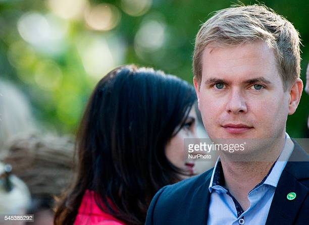 Swedish Education Minister and spokes person for the Green Party Gustav Fridolin attends Prime Minister Stefan Löfven's speech at Almedalen in Visby...