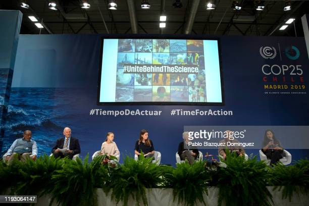 Swedish environment activist Greta Thunberg and German politician Luisa Neubauer attend to a conference with scientists at the COP25 Climate...