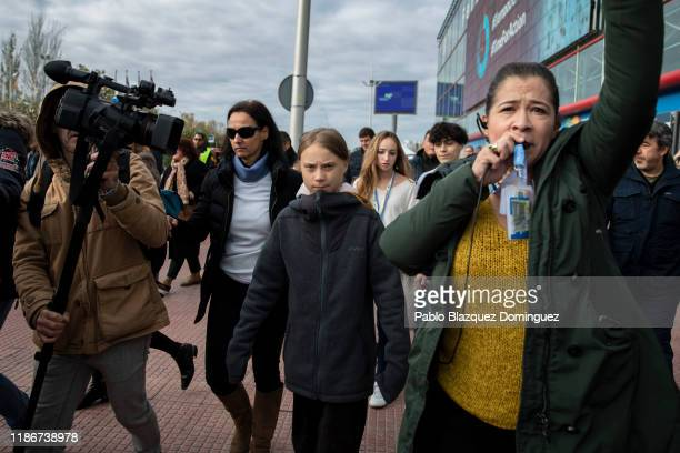 Swedish environment activist Greta Thunberg arrives at the COP25 Climate Conference on December 06, 2019 in Madrid, Spain. Greta arrived in Madrid...