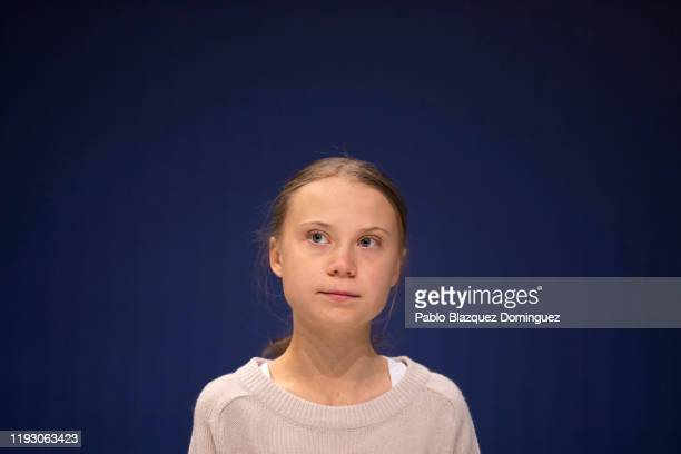 Swedish environment activist Greta Thunberg attends an event with scientists at the COP25 Climate Conference on December 10 2019 in Madrid Spain The...