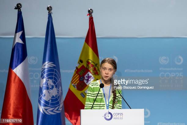 Swedish environment activist Greta Thunberg gives a speech at the plenary session during the COP25 Climate Conference on December 11, 2019 in Madrid,...