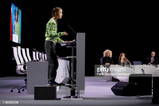 Swedish environment activist Greta Thunberg gives a speech at the plenary session during the COP25 Climate Conference on December 11 2019 in Madrid...
