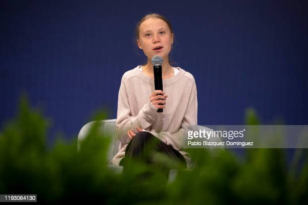 Swedish environment activist Greta Thunberg speaks during a conference with scientists at the COP25 Climate Conference on December 10 2019 in Madrid...