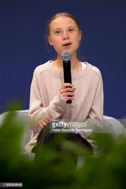 Swedish environment activist Greta Thunberg speaks during a conference with scientists at the COP25 Climate Conference on December 10, 2019 in...