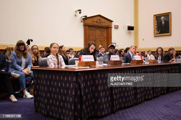 Swedish environment activist Greta Thunberg This Is Zero Hour cofounder Jamie Margolin Alliance for Climate Education fellow Vic Barrett and American...