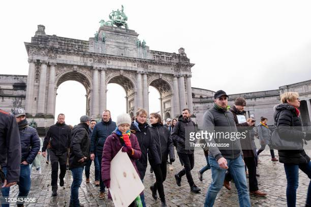 Swedish environmental activist Greta Thunberg departs after the 'Friday Strike For Climate' on March 6 in Brussels Belgium