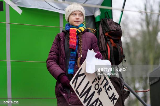 Swedish environmental activist Greta Thunberg gives a speech at the end of the 'Friday Strike For Climate' on March 6 in Brussels Belgium