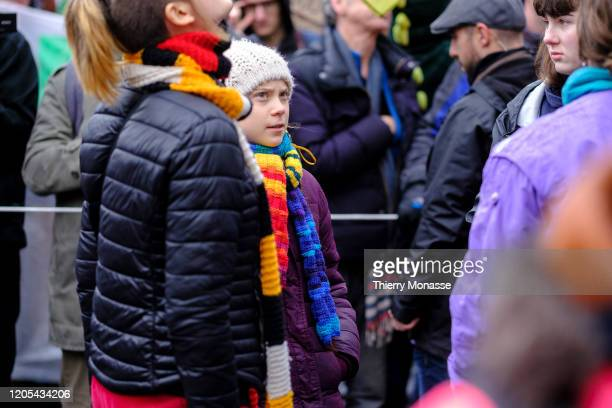 Swedish environmental activist Greta Thunberg is walking for the 'Friday Strike For Climate' on March 6 in Brussels Belgium