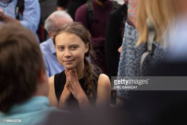 Swedish environmental activist Greta Thunberg takes part in a media event on Capitol Hill on September 17 2019 in WashingtonDC Thunberg spoke...