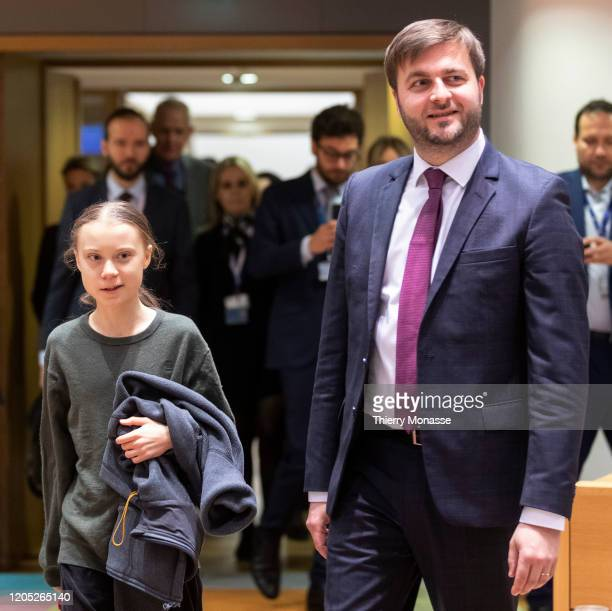 Swedish environmental activist on climate change Greta Thunberg and the Croatian Environmental Protection Minister President of the Council Tomislav...