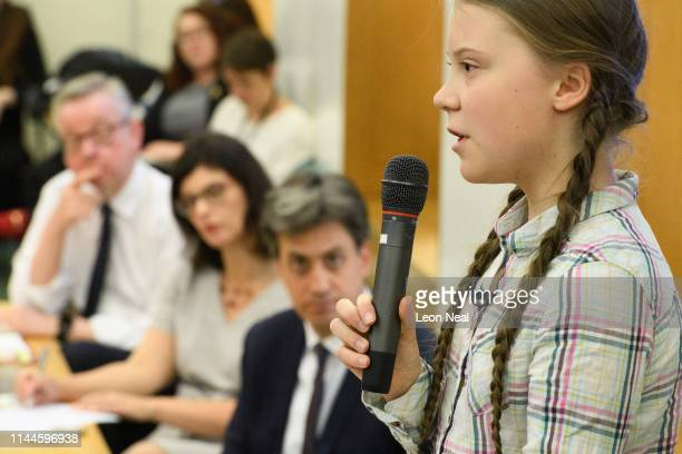 Swedish environmental campaigner Greta Thunberg addresses politicians media and guests with the Houses of Parliament on April 23 2019 in London...