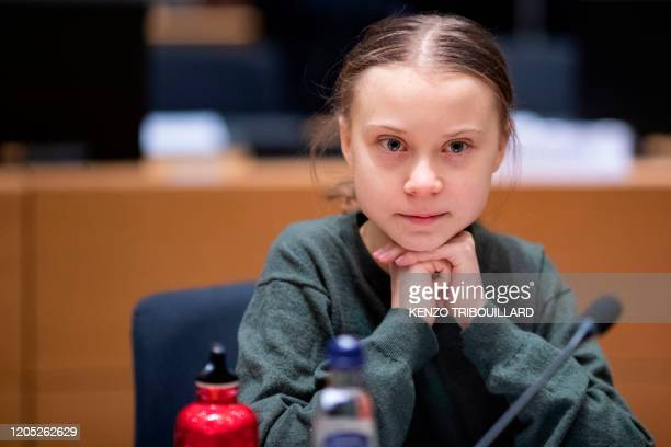 Swedish environmentalist Greta Thunberg arrives for a meeting at the Europa building in Brussels on March 5, 2020.