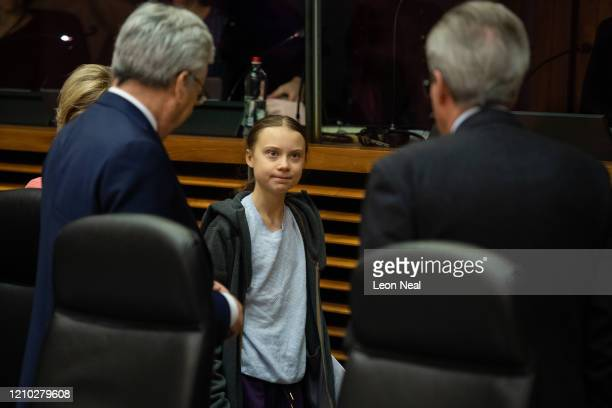 Swedish environmentalist Greta Thunberg attends a meeting with President of the European Commission Ursula von der Leyen as they announce a new EU...