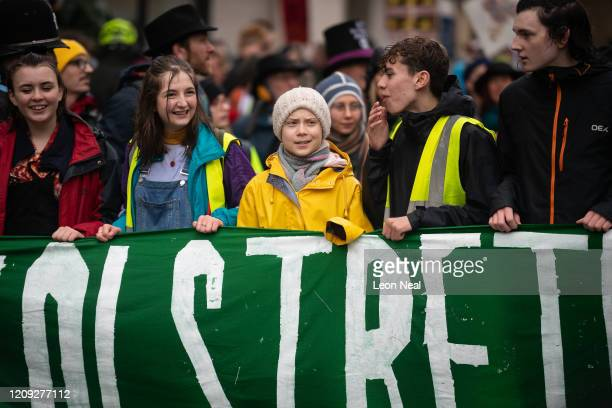 Swedish environmentalist Greta Thunberg joins demonstrators during a Bristol Youth Strike 4 Climate march, on February 28, 2020 in Bristol, England.