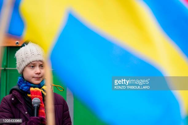 Swedish environmentalist Greta Thunberg speaks during a Youth Strike 4 Climate protest march on March 6 2020 in Brussels