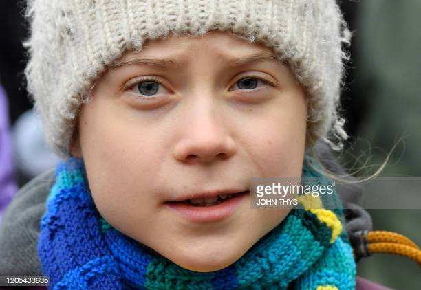 Swedish environmentalist Greta Thunberg takes part in a Youth Strike 4 Climate protest march on March 6 2020 in Brussels