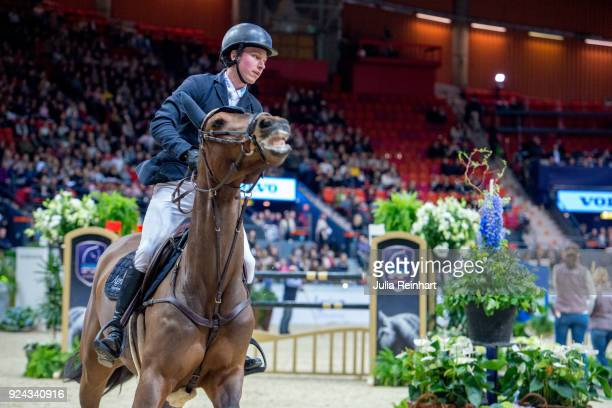 Swedish equestrian Douglas Lindelow on Jezebel rides in the Accumulator Show Jumping Competition during the Gothenburg Horse Show in Scandinavium...