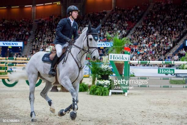 Swedish equestrian Douglas Lindelow on Volstrups Cody rides in in the Gothenburg Grand Prix Trophy during the Gothenburg Horse Show in Scandinavium...