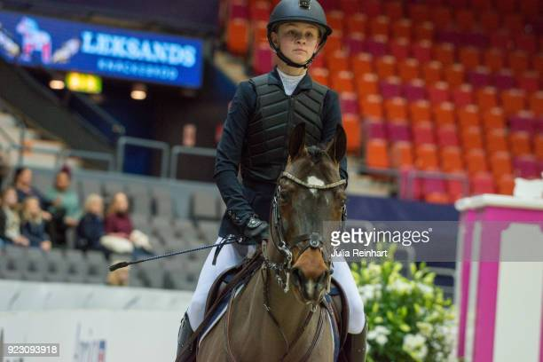 Swedish equestrian Emilia Liljegren on Max rides in the semifinal competition of the Young Riders Cup during the Gothenburg Horse Show in...