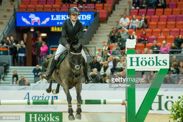 Swedish equestrian Emilia Matzke on Queen's Sweet Violet rides in the semifinal competition of the Young Riders Cup during the Gothenburg Horse Show...