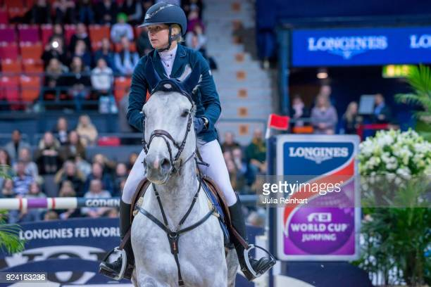 Swedish equestrian Evelina Tovek on Castello 194 places tenth in the FEI Longines World Cup jumping during the Gothenburg Horse Show in Scandinavium...