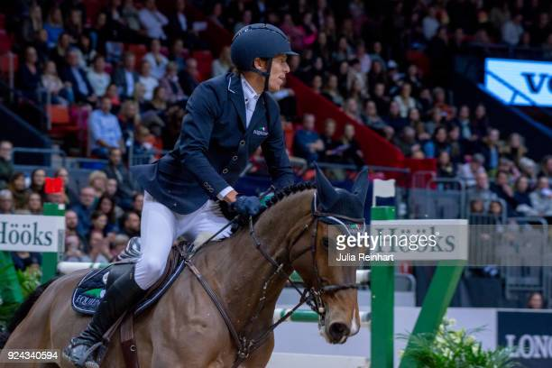 Swedish equestrian Henrik von Eckermann on Belcanto Z rides in the Accumulator Show Jumping Competition during the Gothenburg Horse Show in...